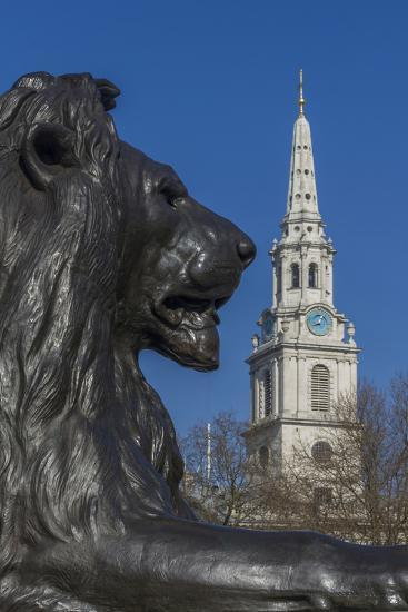 Lion at Foot of Nelson's Column and St. Martin-In-The-Fields Church-Rolf Richardson-Photographic Print