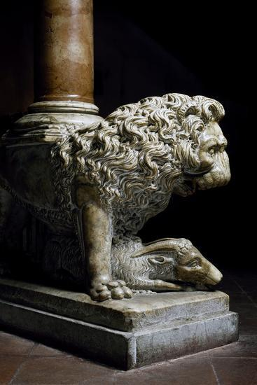 Lion Culmiferous, Pulpit, Wall, Church of St John Fuorcivitas, Pistoia, Tuscany, Italy,--Giclee Print