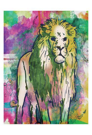 Lion Dark Bright Henna-OnRei-Art Print