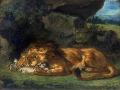 Lion Devouring a Rabbit, 19th Century-Eugene Delacroix-Giclee Print