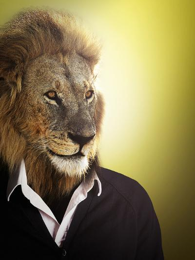 Lion Dressed Up With A Shirt And Jumper-Nosnibor137-Photographic Print