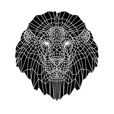 Lion Head Black Mesh 2-Lisa Kroll-Art Print