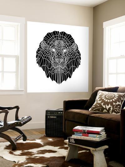 Lion Head Black Mesh 2-Lisa Kroll-Wall Mural