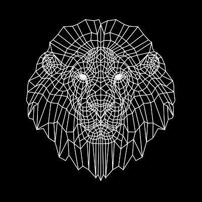 Lion Head Black Mesh-Lisa Kroll-Art Print