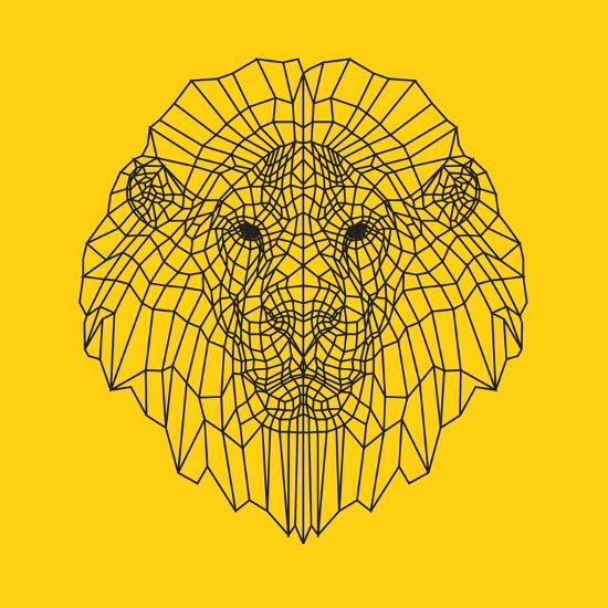 Lion Head Yellow Mesh-Lisa Kroll-Premium Giclee Print