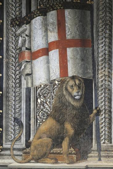 Lion Holding Up Coat of Arms--Giclee Print