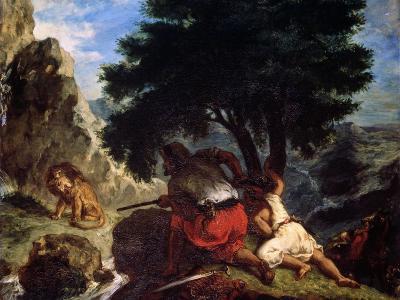Lion Hunt in Morocco, 1854-Eugene Delacroix-Giclee Print