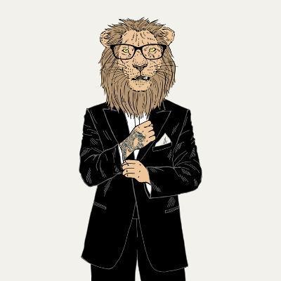 Lion in a Tuxedo with Tattoo-Olga_Angelloz-Art Print
