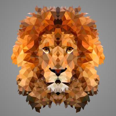Lion Low Poly Portrait-kakmyc-Art Print