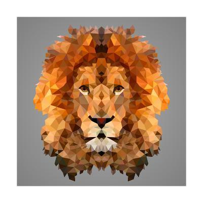 Lion Low Poly Portrait-kakmyc-Art Print