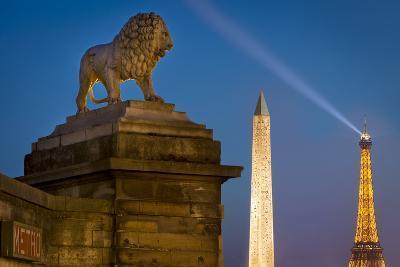 Lion, Obelisk, and Eiffle Tower at Place de La Concorde, Paris, France-Brian Jannsen-Photographic Print