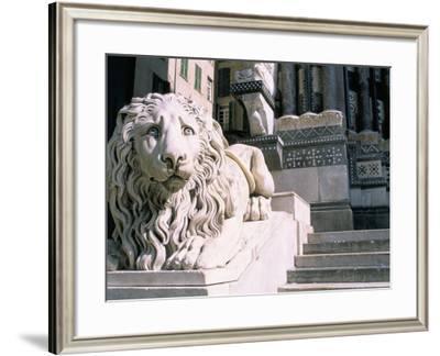 Lion, San Lorenzo Cathedral, Genoa (Genova), Liguria, Italy-Bruno Morandi-Framed Photographic Print