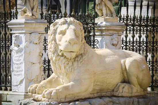 Lion statue at the entrance to the Arsenal, Venice, Veneto, Italy-Russ Bishop-Premium Photographic Print