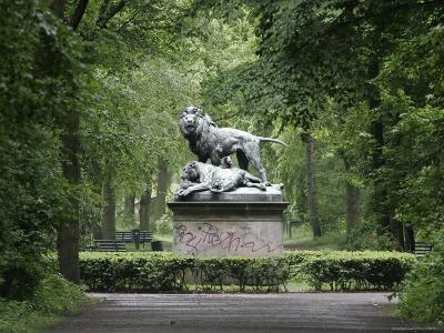 Lion Statue in Tiergarten-David Borland-Photographic Print