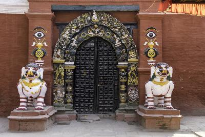 Lion Statues Outside a Gate at the Taleju Temple, Durbar Square, Kathmandu, Nepal, Asia-John Woodworth-Photographic Print