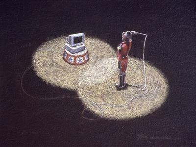 Lion Tamer Holding a Whip in Front of a Computer--Giclee Print