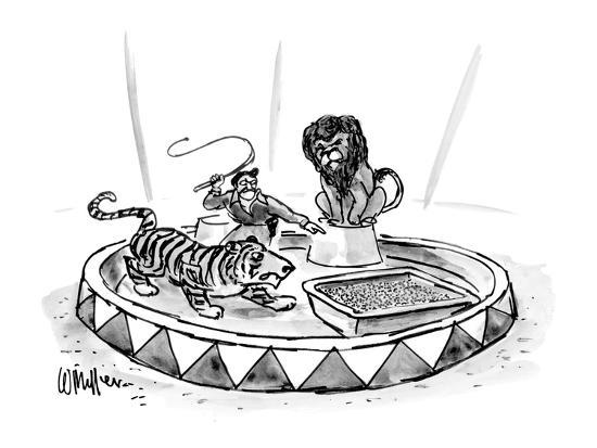 Lion tamer, with raised whip, directs a tiger toward a large litter box. - New Yorker Cartoon-Warren Miller-Premium Giclee Print