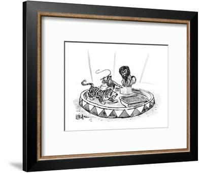 Lion tamer, with raised whip, directs a tiger toward a large litter box. - New Yorker Cartoon-Warren Miller-Framed Premium Giclee Print