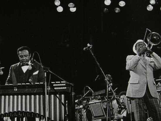 Lionel Hampton (Vibraphone) and Al Grey (Trombone) on Stage at Knebworth, Hertfordshire, July 1982-Denis Williams-Photographic Print