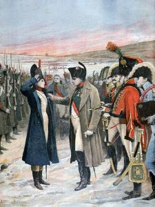 Napoleon Presenting Female Officer Marie Schellinck with the Legion D'Honneur, 1808 by Lionel Noel Royer