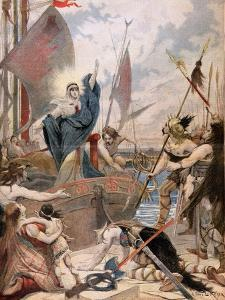 """St. Genevieve, from a Series on the Heroines of France in """"Le Petit Journal,"""" 1896 by Lionel Noel Royer"""