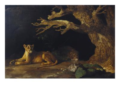 Lioness and Cave-George Stubbs-Giclee Print