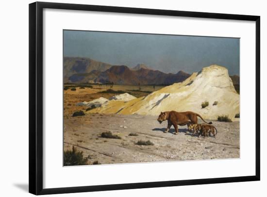 Lioness and Cubs; Lionne Et Lioceaux-Jean Leon Gerome-Framed Giclee Print