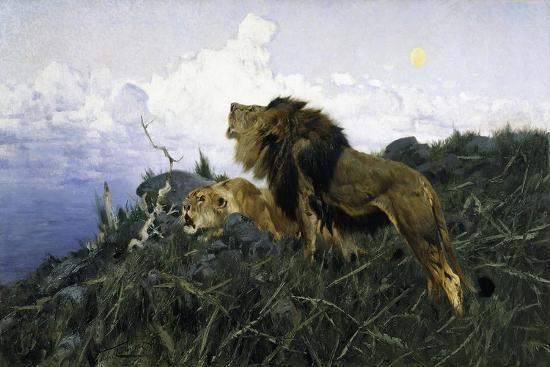 Lions at Dusk-Wilhelm Kuhnert-Giclee Print