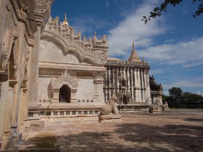 Lions sculpture at edge of Ananda Phaya temple, Bagan, Mandalay Region, Myanmar--Photographic Print