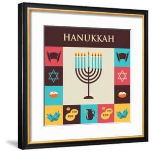 Vector Illustrations of Famous Symbols for the Jewish Holiday Hanukkah by LipMic