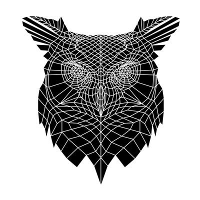 Black Owl Head Mesh