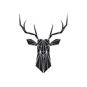 Black Polygon Deer by Lisa Kroll