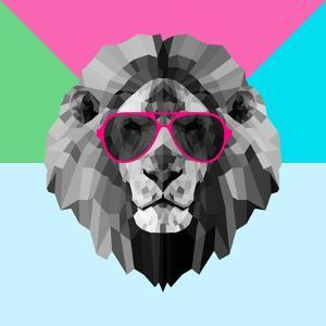 Party Lion in Red Glasses by Lisa Kroll