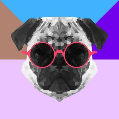 Party Pug in Pink Glasses