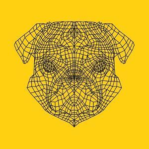 Pug Head Yellow Mesh by Lisa Kroll
