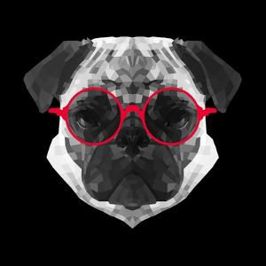 Pug in Red Glasses by Lisa Kroll
