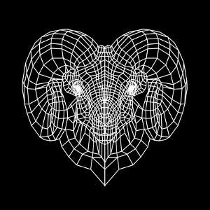 Ram Head Black Mesh by Lisa Kroll