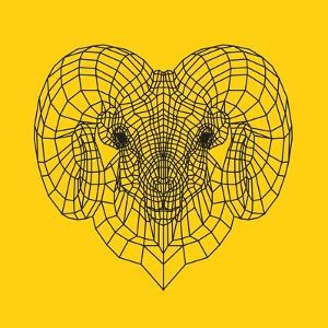 Ram Head Yellow Mesh by Lisa Kroll