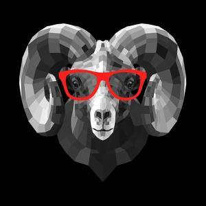 Ram in Red Glasses by Lisa Kroll