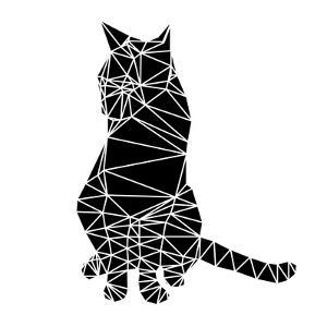 Smart Black Cat Polygon by Lisa Kroll