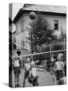 Boys and Girls Playing Volleyball by Lisa Larsen