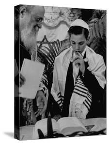 Carl Jay Bodek with Rabbi David S. Novoseller Reciting from the Prayer Book by Lisa Larsen