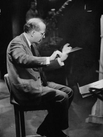 Composer Samuel Barber, Conducting with Baton