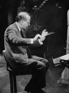 Composer Samuel Barber, Conducting with Baton by Lisa Larsen