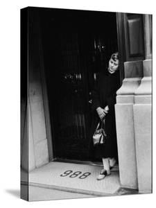 Fan of Actress Grace Kelly Waiting Outside Kelly's Apartment For a Sight of Her Idol by Lisa Larsen