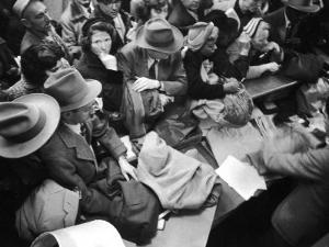 Frenzied Shoppers Crowd around Busy Cashier During Hearn's Department Stores Bargain Rush Sale by Lisa Larsen
