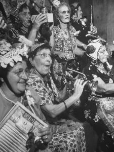 Group of Grandmotherly Residents Playing on Kitchenware Instruments for Friends by Lisa Larsen