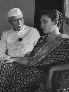 India's Prime Minister Jawaharlal Nehru with Daughter Indira Gandhi at the Asia African Conference by Lisa Larsen