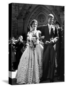 Jacqueline Bouvier in Gorgeous Battenberg Wedding Dress with Her Husband Sen. John Kennedy by Lisa Larsen