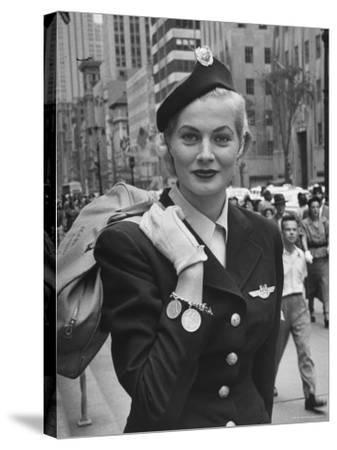 Miss Sweden Anita Ekberg Wearing Hostess Hat for Scandinavian Airlines Designed by Mr. John